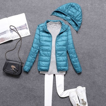 Chaqueta de plumas desmontable para mujer, abrigo de plumón de pato con capucha, prendas de vestir ultraligeras, abrigo de invierno portátil de talla grande para mujer, abrigo cálido de gran tamaño