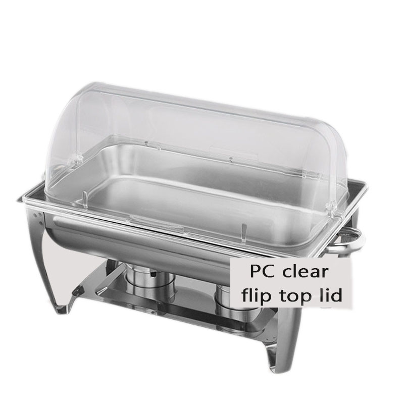stainless steel buffet chafing dish hotpot heater 9l basin fliptop lid clear wedding banquet cooking pan