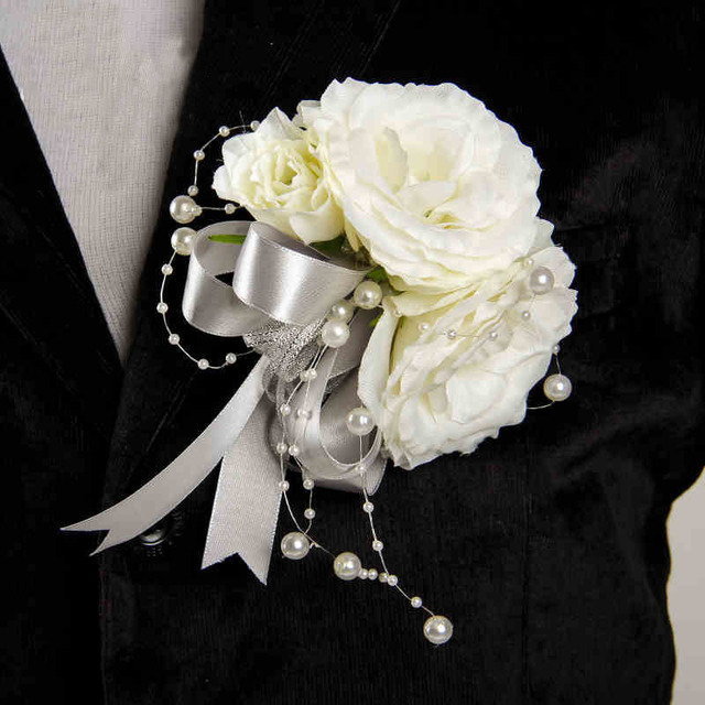 Diy groom boutonniere men corsage sliver white pearls silk rose diy groom boutonniere men corsage sliver white pearls silk rose flowers wedding home party decoration aq14 junglespirit Image collections