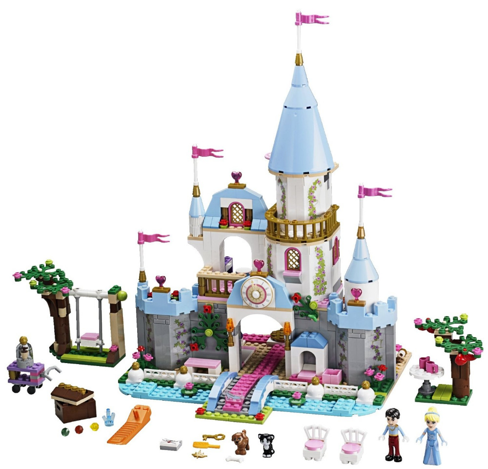 MOC Princess Cinderellas Romantic Castle Building Blocks for Girl Friends Kids Model Toys Marvel Compatible Lepine Lele DIY Toy lepine 16008 cinderella princess castle 4080pcs model building block toy children christmas gift compatible 71040 girl lepine