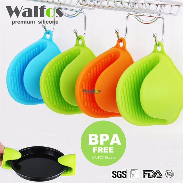 WALFOS Silicone Non-slip Gloves Oven Heat Insulated Finger Gloves Cooking Microwave Gripper Pot Holder