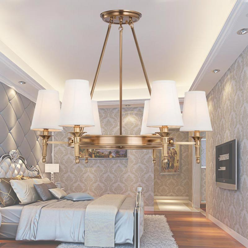 Modern Real Bronze Copper Chandelier for Bedroom Kitchen Living Room Fabric Lampshade Ceiling Home Lighting BLC014