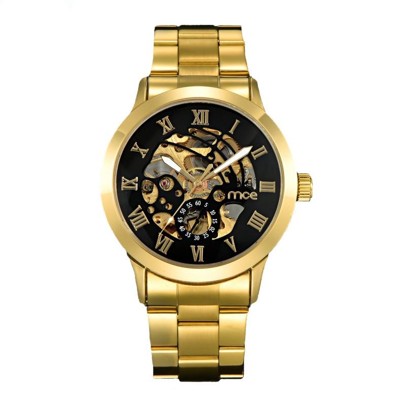 Luxus Gold herren Uhr Männer Römischen Ziffern Edelstahl Uhr Schwarz Automatische Mechanische Business Armbanduhr Männlichen Uhr