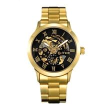 MCE люкс золото для мужчин смотреть римские цифры Нержавеющая сталь Часы Черный автоматические механические бизнес наручные