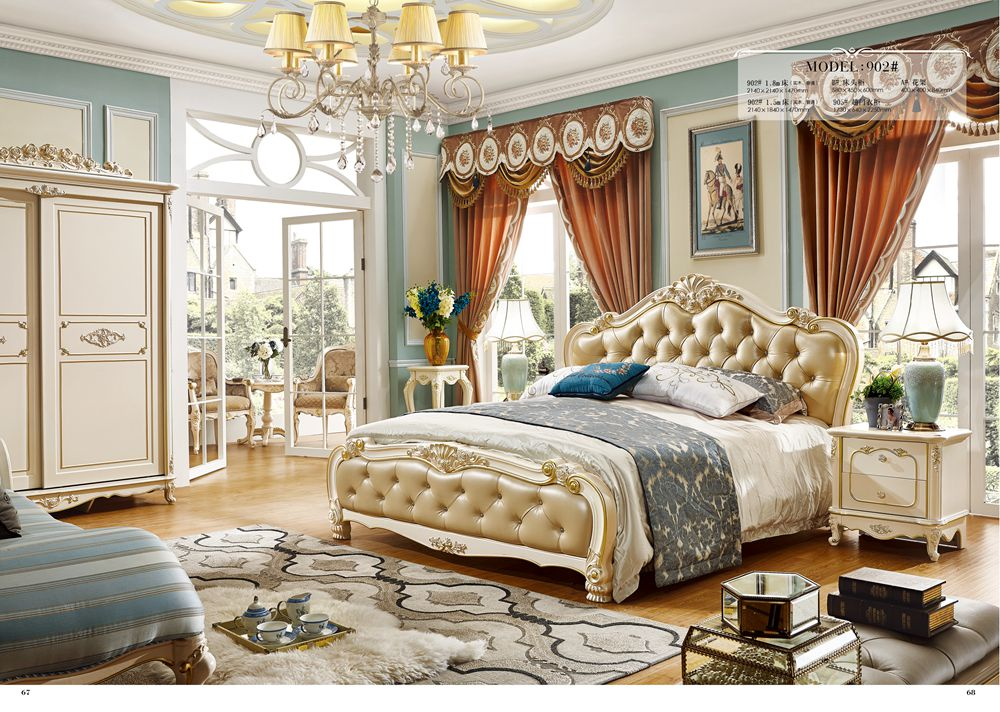 €1951.17 |Meubles de chambre à coucher antiques sculptés à la main en bois  massif blanc royal européen avec table de chevet-in Ensembles chambre à ...