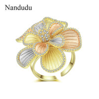 Nandudu New Arrival AAA Cubic Zircon Flower Ring for Women 3 Tones Gold Open Cuff Wedding Rings Gift Elegant Jewelry R2063
