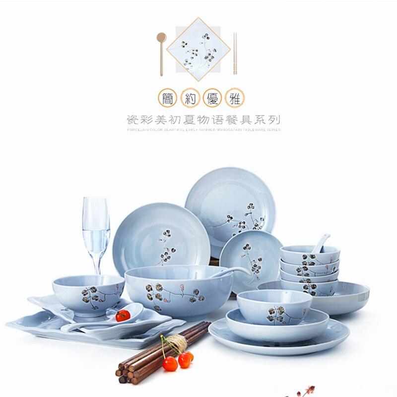 brand high quality ceramic tableware under glazed 4.5 inch rice bowls porcelain 8 inch bowl plates Japan style creative blue
