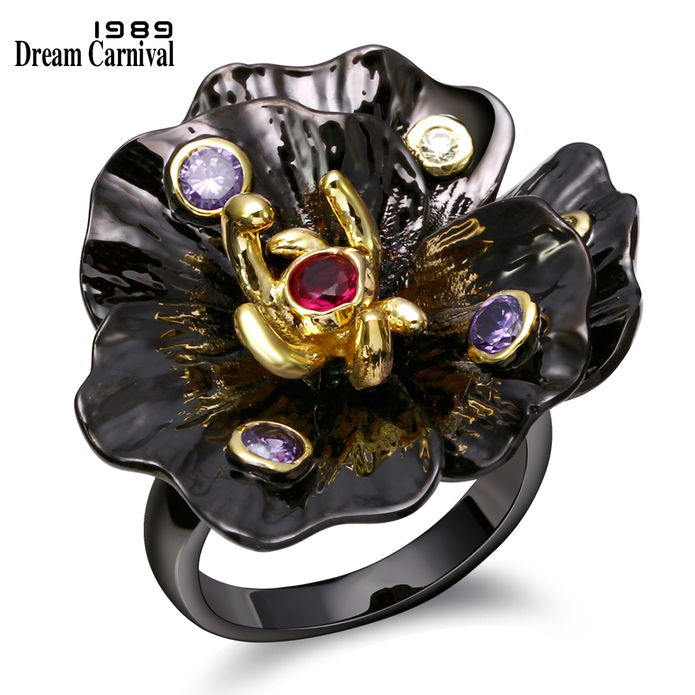 DC1989's Special Women Flower Rings Unique Black & Gold Plated Amethyst & Siam Cubic Zirconia Bezel Setting Lead & Nickel Free
