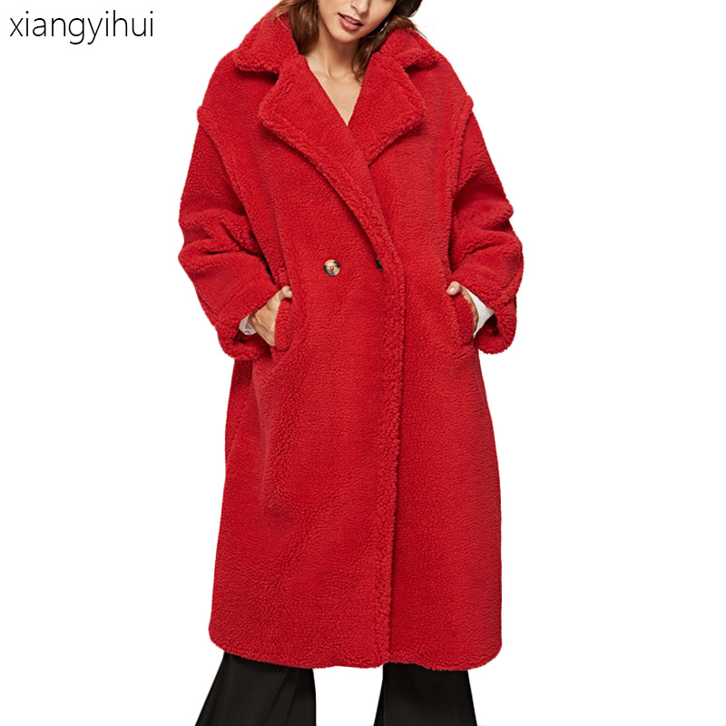 Long Sleeve   Trench   Coat Women's Winter Warm Thicken Outwear   Trench   Coat Female High Quality Designer Loose Open Stitch Breakers