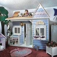 Роскошные Европейский Американский стиль Принцесса замок кровать детская мебель деревянный дом кровать детская двухъярусная кровати