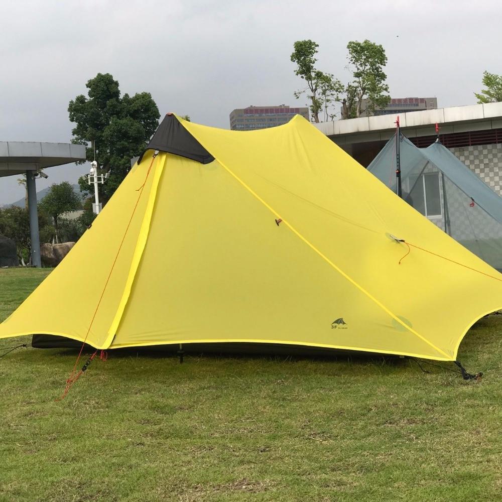 3F UL GEAR LanShan 2 personnes Oudoor ultra-léger tente de Camping 3 saisons professionnel 15D Silnylon tente sans fil - 2