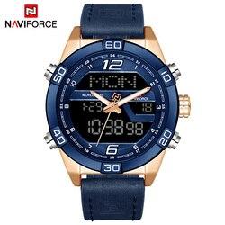 Naviforce marca de luxo moda masculina esportes relógios à prova dwaterproof água quartzo data relógio homem couro militar do exército pulso relógio
