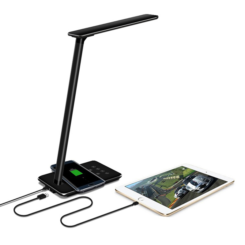 Foldable LED Table Lamp Wireless Charger Mobile Phone USB Charging with Cable For iPhone X 8,8 Plus For Samsung S8 Android phone
