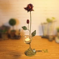 O RoseLif Brand New Creative Glass Candle Holder With Iron Rose Aquarium Wedding Decoration Bar Home