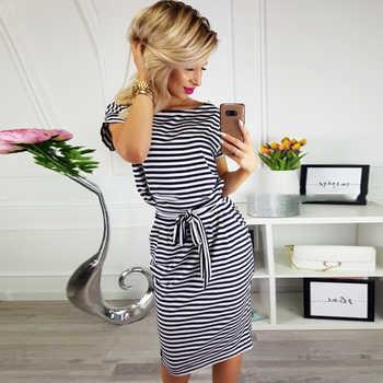 DeRuiLaDy 2019 New Women Office Kobs Summer Dress Sexy O Neck Short Sleeve Belt Bodycon Striped Dresses Casual Vestidos Sundress - DISCOUNT ITEM  40% OFF All Category