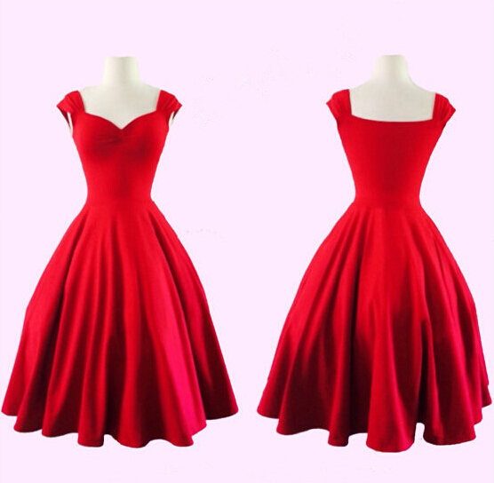 Beautiful Red Black Elegant Full Circle Pin Up Dress Rockabillyy 1950s Retro Style Vintage