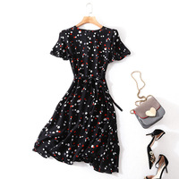 100% Silk dot a line dress 2018 new runway women summer dress high quality office lady butterfly sleeve dress