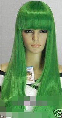 FREE SHIPPING>****^^ New Cosplay party Beautiful! long straight green Wig for women wig fast deliver
