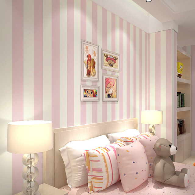 Mediterranean Cartoon Wood Striped Kids Room Wallpaper For: Aliexpress.com : Buy Pink Stripe Wall Paper For Walls
