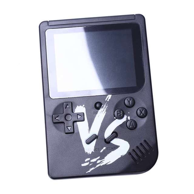 Powkiddy 2.6 Inch Retro Game Mini Handheld Console Support AV Output Built In 500 Games Double Player With Game Controller(Bla