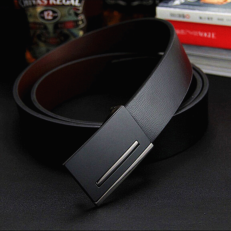 2018 New male genuine leather belt men cowskin belt metal buckle starp simple formal suit trousers belt gift for men belts