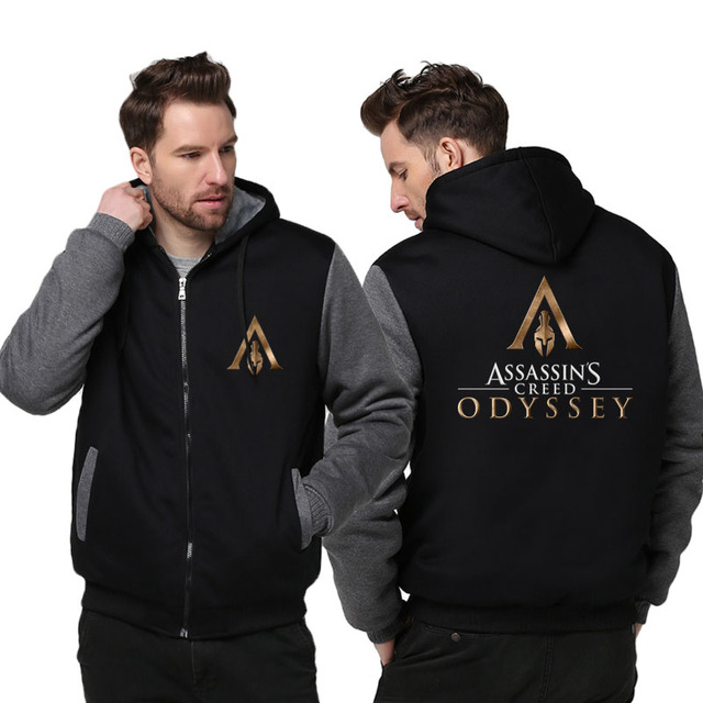 US size Men Women Game Assassin's Creed Odyssey Cosplay Hoodie Thicken Jacket Clothing Assassins Creed Coat Sweatshirts