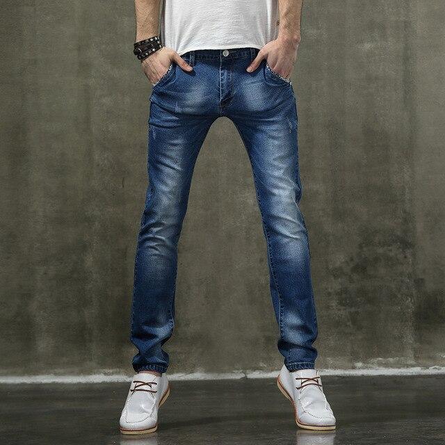 Autumn 2016 Fashion Mens Slim Fit Light Blue Jeans Men Casual Jeans Pants Cotton Stretch Denim Jeans For Men