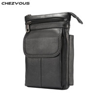 CHEZVOUS Phone Waist Packs for iPhone X 8/8 plus Case Genuine Leather Vintage Traveling Shoulder Bag for Samsung Note 8 S8/plus