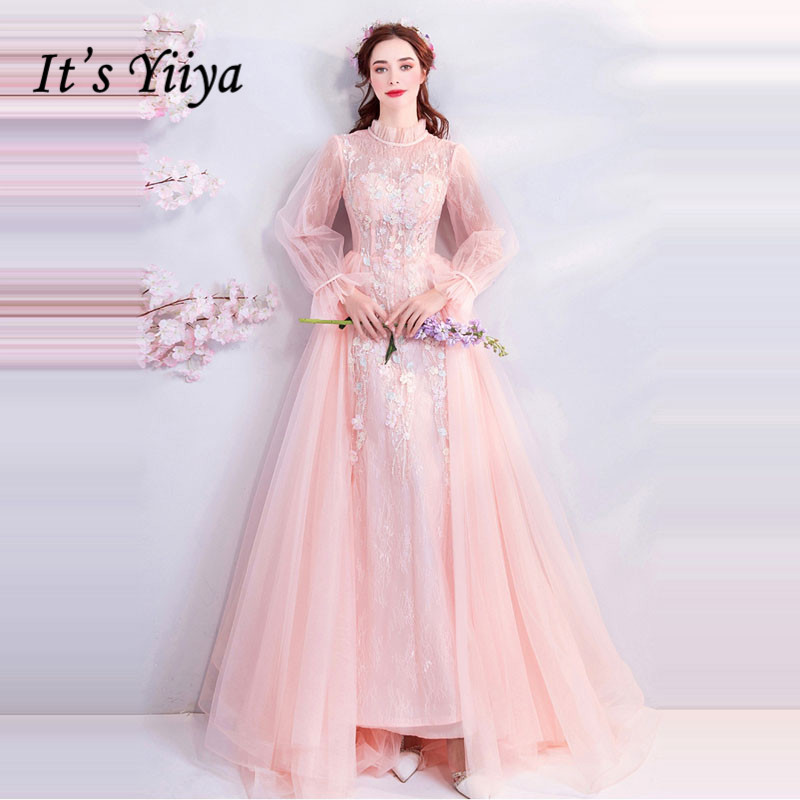 It's YiiYa   Evening     Dress   Pink Flowers Embroidery Long Sleeve Wedding Formal   Dresses   Illsion Beading Pealrs Lace Party Gown E174