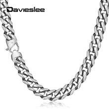 Davieslee Kolye Erkekler için Erkek 13mm 316L Paslanmaz Çelik Curb Ağır Zincir Kolye Takı Erkek Gümüş Renk Hediye DHN114