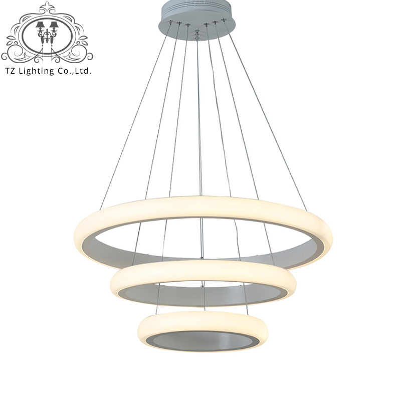 Фотография Modern Acrylic Led Pendant Lights for Living Room Bedroom Circle Rings Hanging LED Avize Indoor Dec Modern Pendant Lamp Fixtures