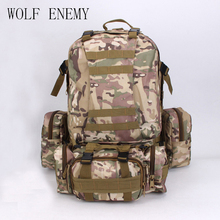 Hátizsák dupla vállas férfi Női 50l csomag katonai taktikai kombinált csomag utazási utazás nagy nagy hátizsák vadászat