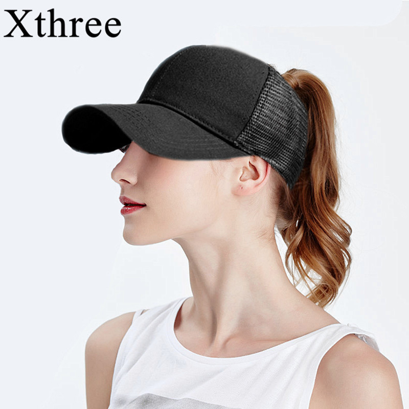 Xthree Solid Summer Ponytail Baseball Cap Mesh Hats For Men Women Messy Bun Casual Hip Hop Snap back Gorras Hombre hats 2018 cc denim ponytail baseball cap snapback dad hat women summer mesh trucker hats messy bun sequin shine hip hop caps casual