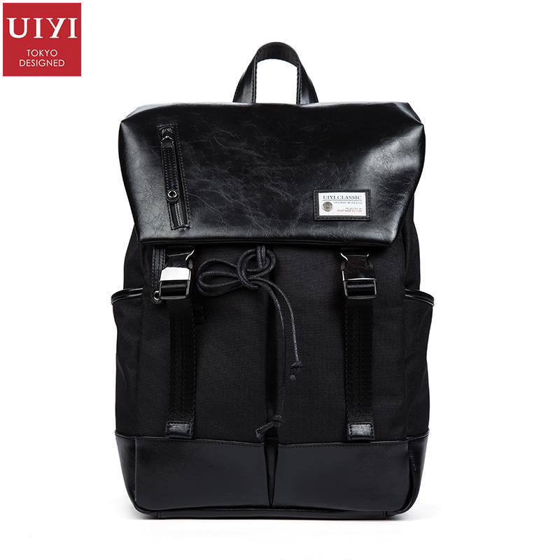 UIYI Brand Design Women Mochila PU Leather Polyester Men Backpack Soft Shoulder Laptop Fashion Travel Back Bag 150138 cut25 by yigal azrouël футболка