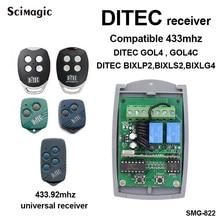 DITEC receptor de control remoto, 433mhz, DITEC GOL4, GOL4C, BIXLP2, BIXLS2, BIXLG4, mando de garaje, receptor transmisor de 433,92 mhz