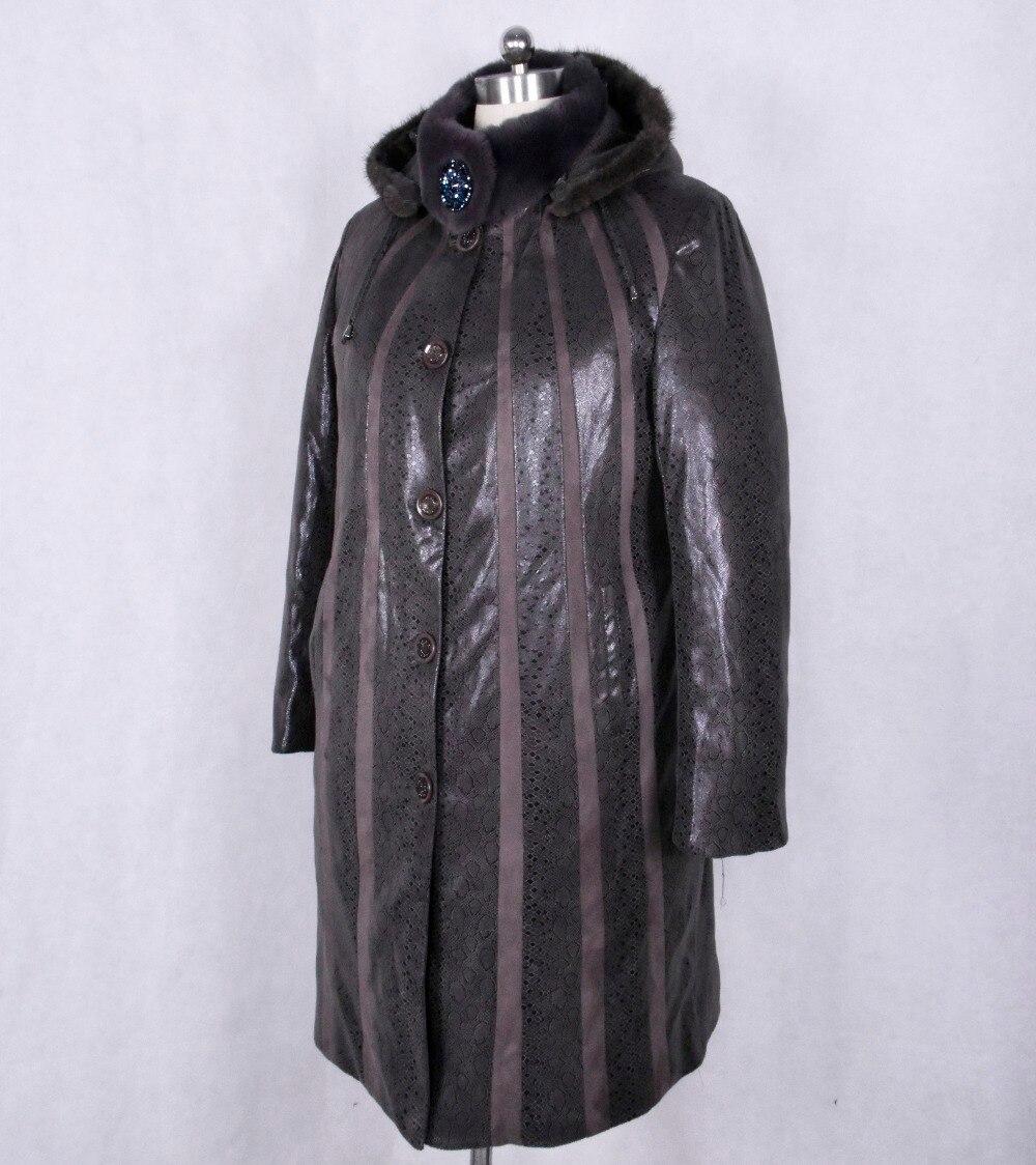 winter Thicken Women Overcoat Genuine Leather Mink trim Rex fur collar Snakeskin pattern Suede Splice printing Removable cap