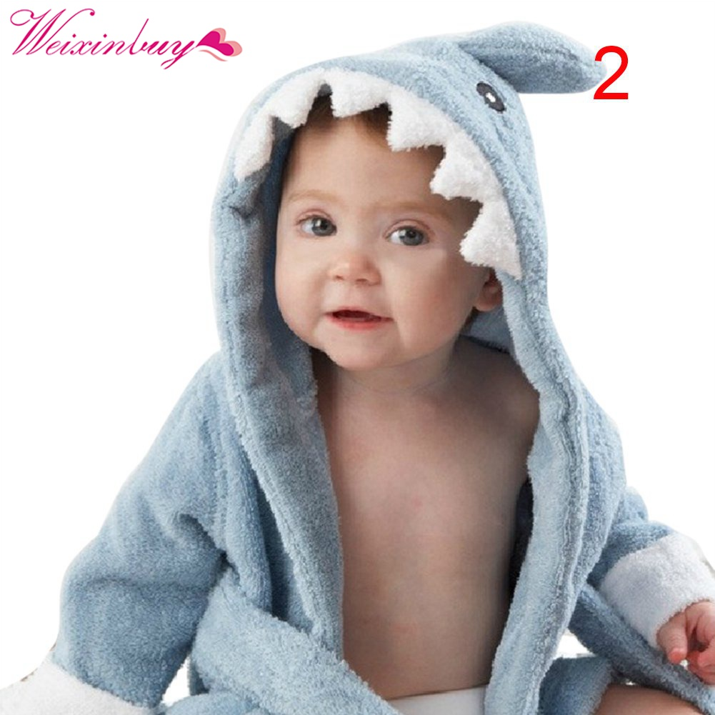 Cotton Hooded Animal Baby Bathrobe Cartoon Baby Sleep Clothes Character Kids Bath Robe Infant Robes