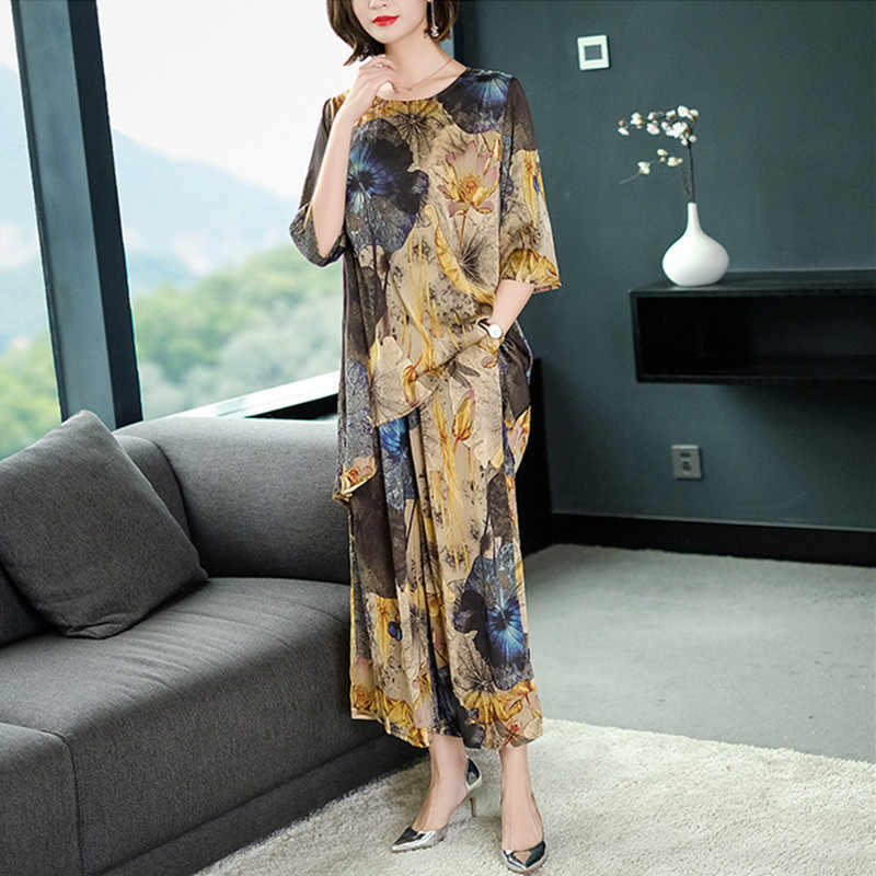 2019 Plus Size Novos vestidos de Seda Gaze Casuais Nova Moda Elegante Conjunto de Duas Peças Das Mulheres Blusa Floral impressão Calças Perna Larga terno