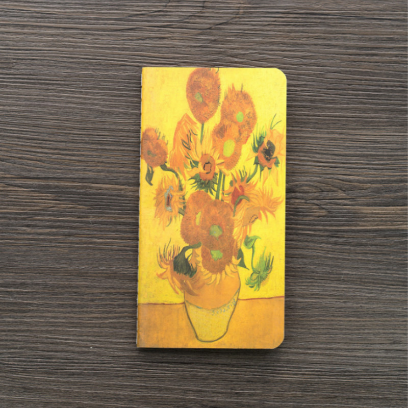 1 Pcs Cute Watercolor Van Gogh Sunflower Oil Painting Mini Portable Notebooks 80K Notepad Beautiful Book Students Gift