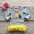 Пасха хлопка дизайн нового ребенка девушки дети бутик одежды eatser яйцо чик dress sets with matching аксессуары оголовье набор
