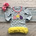 Easter cotton design new baby girls kids boutique clothing eatser egg chick dress sets with matching accessories headband set