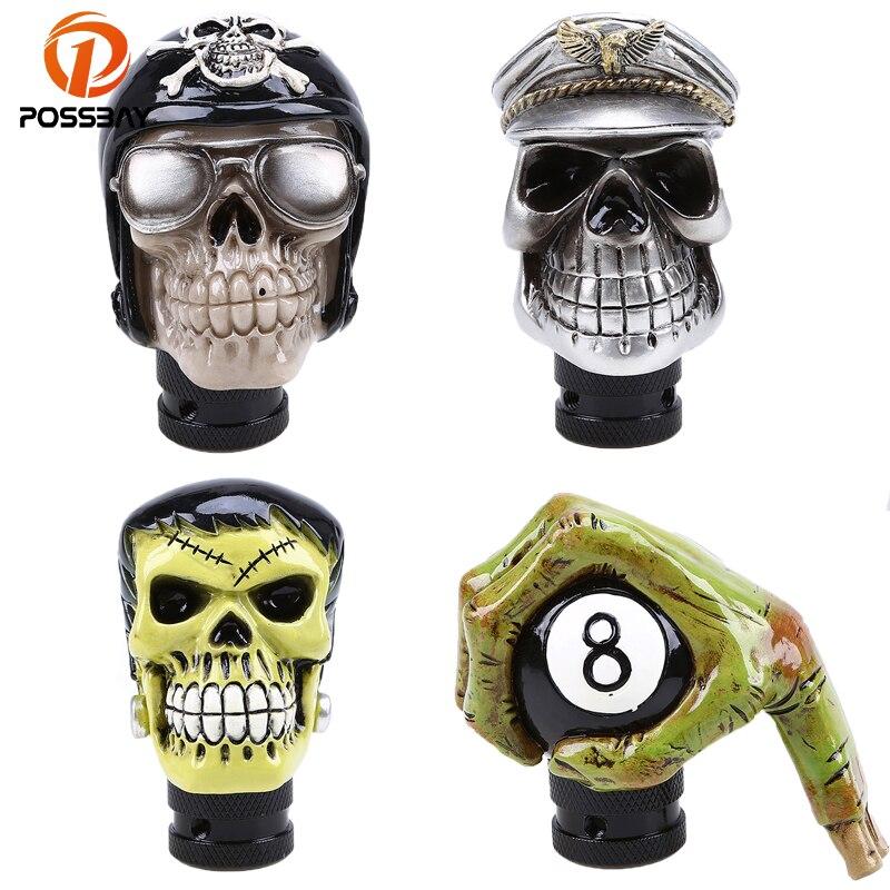 POSSBAY Skull Head Car Gear Shift Knob Stick Shifter Lever Skull Head Human Carved