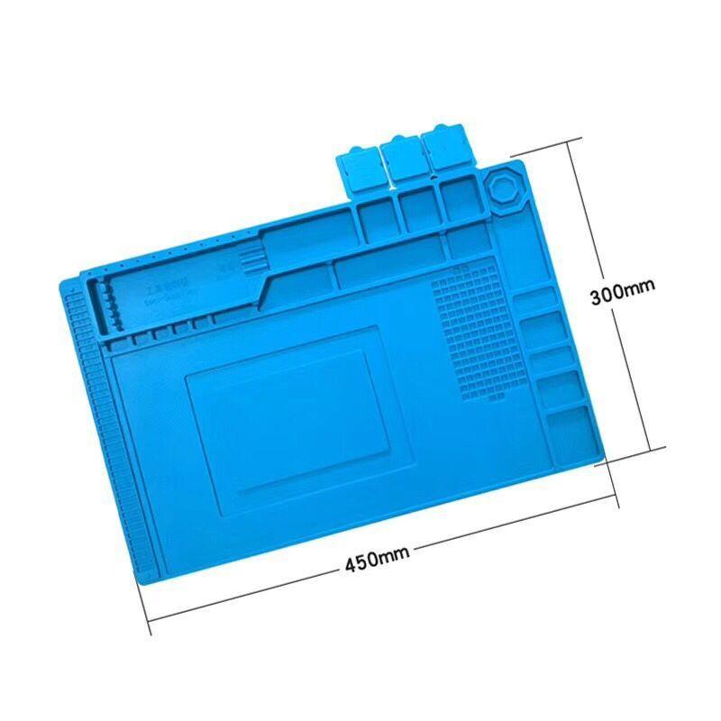 Купить с кэшбэком S-160 450x300mm  Heat Insulation Silicone Pad Desk Mat BGA Soldering Station with Screw Position Phone Repair DIY Tool Set