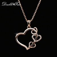 2014 New Love Heart CZ Diamond Party Necklaces Pendants Wholesale 18K Gold Plated Fashion Wedding Jewelry