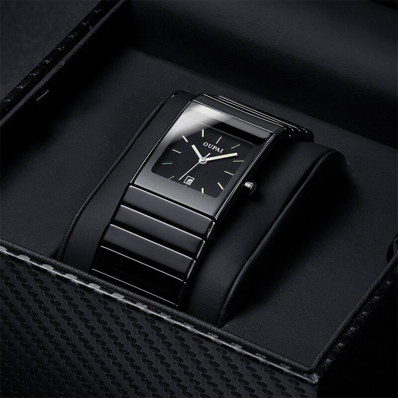 OUPAI classique noir châtelain en céramique calendrier Dat montre Tritium lumière hommes montre Quartz e lumineux étanche montres militaires