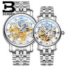 Switzerland Binger Luxury Lovers Couple Watches Men Waterproof Women Gold Stainless Steel Automatic Wristwatch Montre Homme