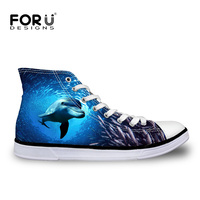 FORUDESIGNS 2018 Stylish Men's High Top Canvas Shoes Autumn Flat Vulcanize Shoes Blue Sea World 3D Animals Printed Lace up Shoes