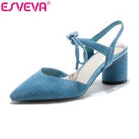 ESVEVA 2017 Women Pumps Genuine Leather Square High Heel Party Lace Up Shoes Blue Black Wedding