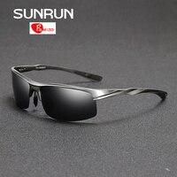 SUNRUN Men Driving Sunglasses Aluminum Frame Polarized Sunglasses Car Drivers Night Vision Goggles Anti Glare Sun