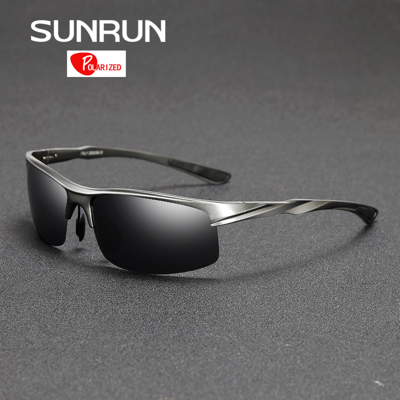 SUNRUN Men Driving Sunglasses Aluminum Frame Polarized Sunglasses Car Drivers Night Vision Goggles Anti-glare Sun Glasses P8213
